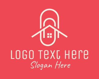 Apartment - Home Office Paper Clip logo design