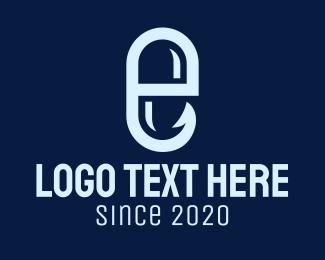 Catching - Medicinal Pill Hook Letter E logo design