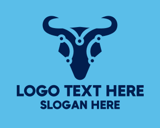 System - Digital Blue Bull logo design