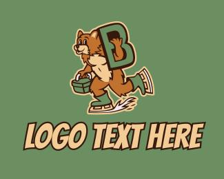 Skating - Ice Skating Bear Letter B logo design