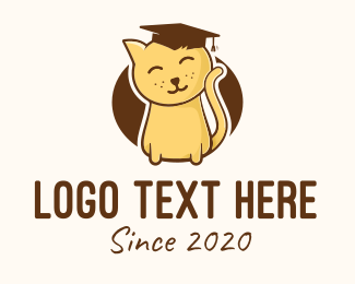 Graduation - Cute Graduated Kitten logo design