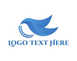 Peace - Blue Dove  logo design