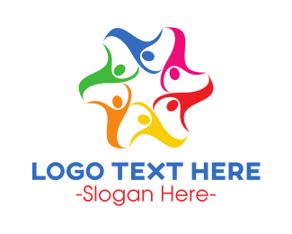 Community Center - Colorful Human Star logo design