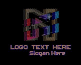 Pubg - Gradient Glitch Letter N logo design