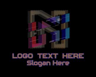 Gradient Glitch Letter N Logo