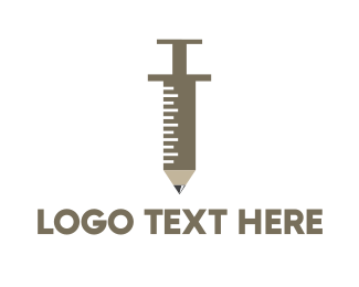 Injection - Pencil Syringe logo design