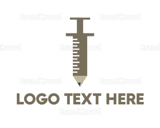 Injection - Pencil Syringe logo design