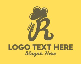 Flour - Baking Chef Letter R logo design