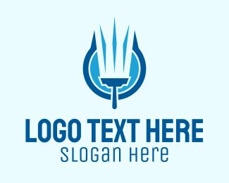 Handy Man - Blue Squeegee Clean Wash  logo design