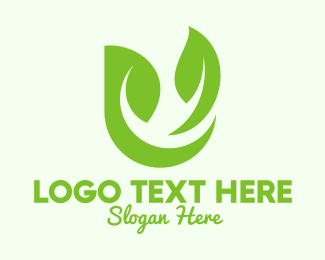 Veggie - Green Herbal Letter U logo design