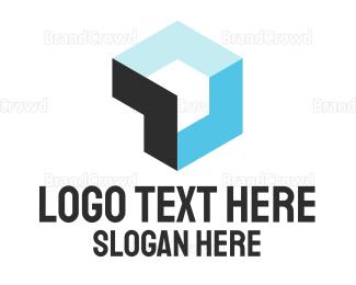 3d - Blue Cube logo design