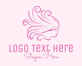 Hairdresser - Pink Feminine Hairdresser logo design