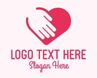 Relationship - Pink Charity Hand Heart logo design