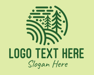 Forest - Minimalist Pine Forest logo design