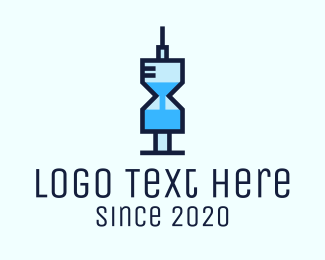 Vaccination - Blue Medical Syringe Hourglass logo design