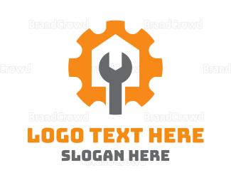 Autoshop - Wrench & Cog logo design