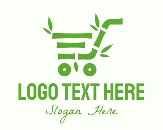 Bamboo - Green Bamboo Shopping Cart logo design