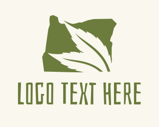 Hemp Farm - Oregon Map Green Leaf logo design