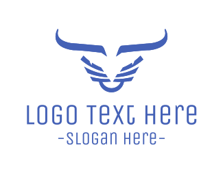 Bison - Evil Blue Bull logo design