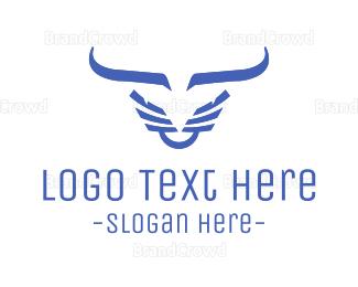 Cowboy - Evil Blue Bull logo design