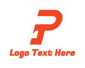 Italic - Red Modern Stroke P logo design