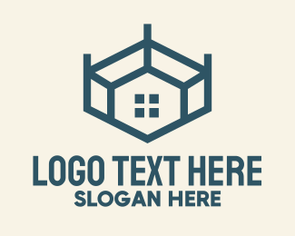 Real State - Blue Geometric Room logo design
