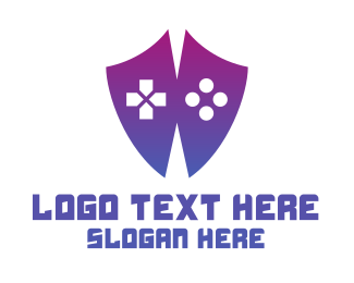 Purple Shield - Game Controller Shield logo design