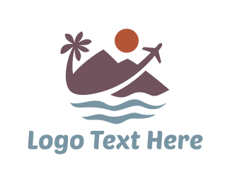 Beachfront - Tropical Travel  logo design