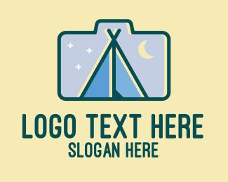 Vlogging - Camera Camping Tent  logo design