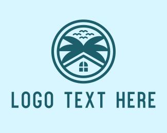 Coconut Tree - House Villa Tree logo design