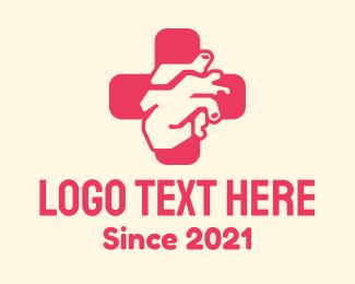 Internal Organ - Medical Heart Cross logo design