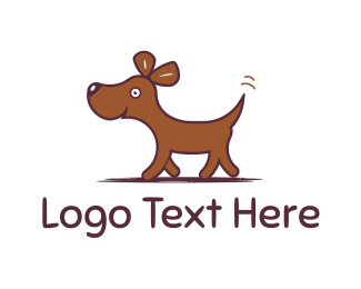 White Puppy - Happy Dog Walking logo design