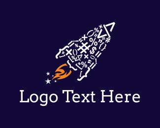 Spaceship - Code Rocket logo design