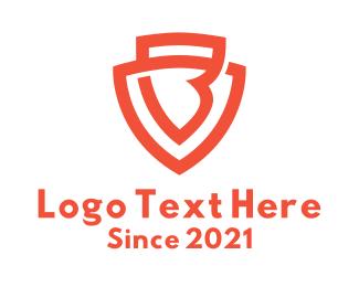 Security - Orange Letter B Shield logo design