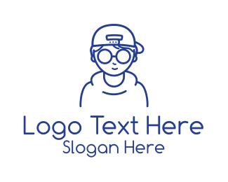 Skater - Blue Boy Monoline logo design