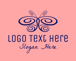 Blue Insect - Blue Swirl Butterfly logo design