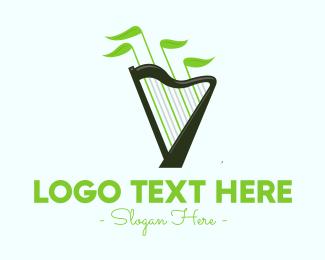 Harp - Organic Music Harp logo design