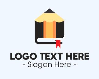 Book Store - Pencil Bookmark logo design