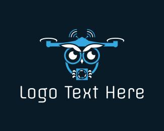 Lens - Owl Drone logo design