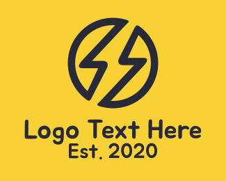 Zeus - Black Electric Bolt logo design