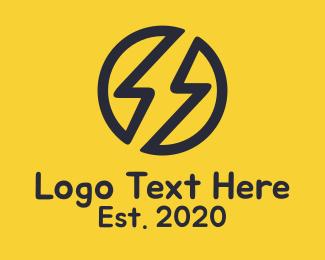 Taxi - Black Electric Bolt logo design