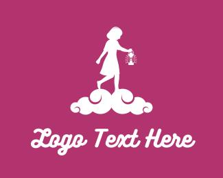 Candle - Girl & Lantern logo design