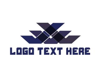 Letter V - Blue Pattern logo design