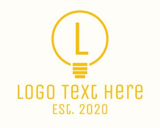 Electrical Supply - Yellow Lightbulb Lettermark logo design