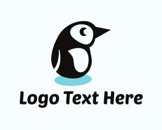 Black Bird - Penguin Cartoon logo design