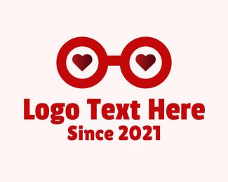 Glasses - Red Heart Glass logo design
