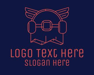 Skater - Skateboard Wings logo design