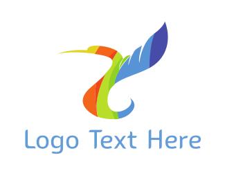 Colibri - Rainbow Hummingbird logo design