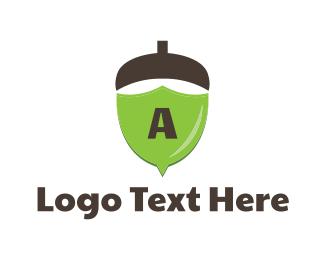 Oak - Acorn Shield logo design