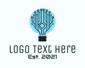 Intelligent - Cyber Circuit Bulb logo design